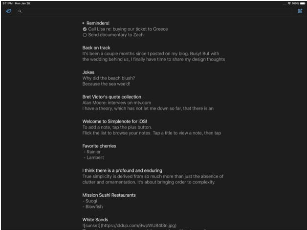 Screenshots of Simplenote